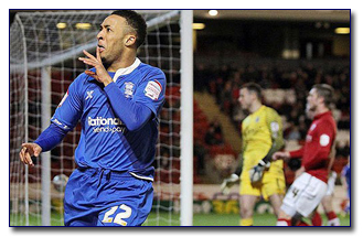 Redmond celebrates his goal for Birmingham