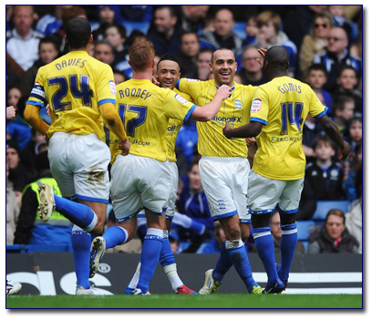 Birmingham City celebrate their goal against Chelsea