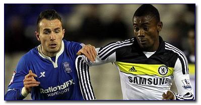Birmingham's Jordan Mutch and Chelsea's Soloman Kalou